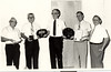 Arlie Parker and Jake Stone Retirement from Nashville Fire Department - 1983<br /> Parker served 35 years and Stone 40 years as volunteers.<br /> Pictured (L-R):  Probate Judge and NFD mascot Johnny Pat Webb, Parker, Fire Chief Thomas Parr, Stone, Nashville Mayor Dewey Hand.