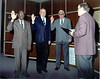 Nashville City Council swearing in for 1999.  L-R, Junior Watts, Bobby Prickett, Buck Browning, and Johnny Hall, City Clerk, officiating.