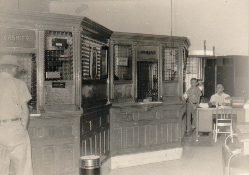 Bank of Lenox interior about 1955. Warren Robinson standing next to the desk of his father Roby Robinson on the right. Photo courtesy fo Warren Robinson.