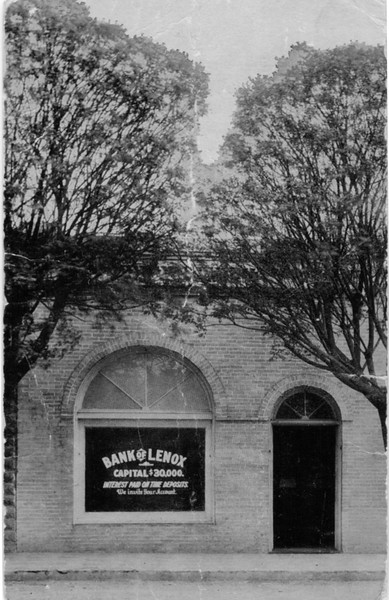 Bank of Lenox as it appeared about 1909. Sits on the east side of the railroad tracks in Lenox.<br /> Photo courtesy of Warren Robinson.