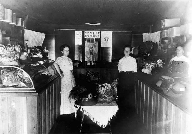 Annie Heaps Millenary Shop Milltown circa 1895<br /> Left to right: Verdie Baskin, Maggie Baskin Patten, Annie Heaps