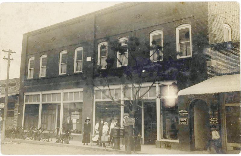 Street scene in front of Miller Hardware, Milltown