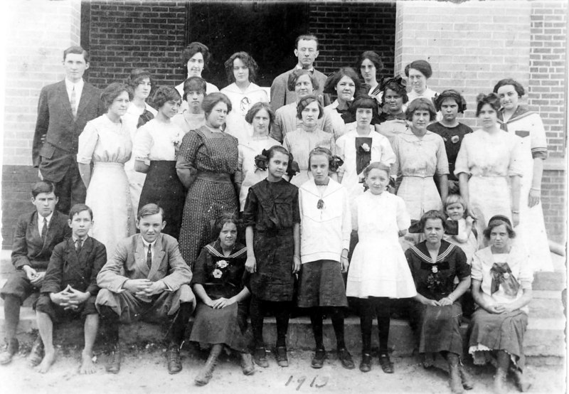 1913 Oaklawn Academy Milltown<br /> Identified: Front row 3rd from left, Lawson Patten<br /> 2nd row 1st lady on left, Myrtle Byrd