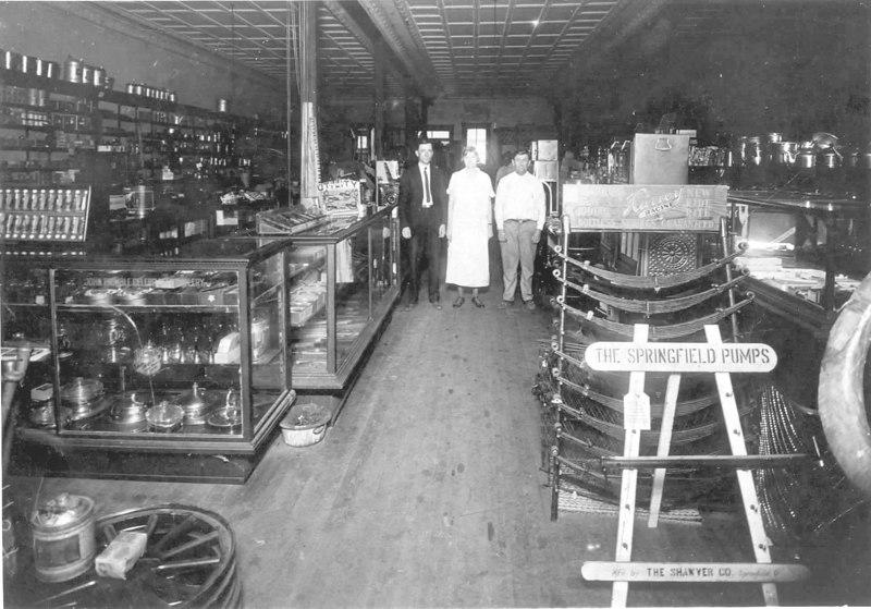 Miller Hardware Milltown<br /> Willis Linton Miller, Sr., Lena Lee Miller, and Hamp Howell<br /> Identifications courtesy of Patricia Sirmans and W. L. Miller, Jr.
