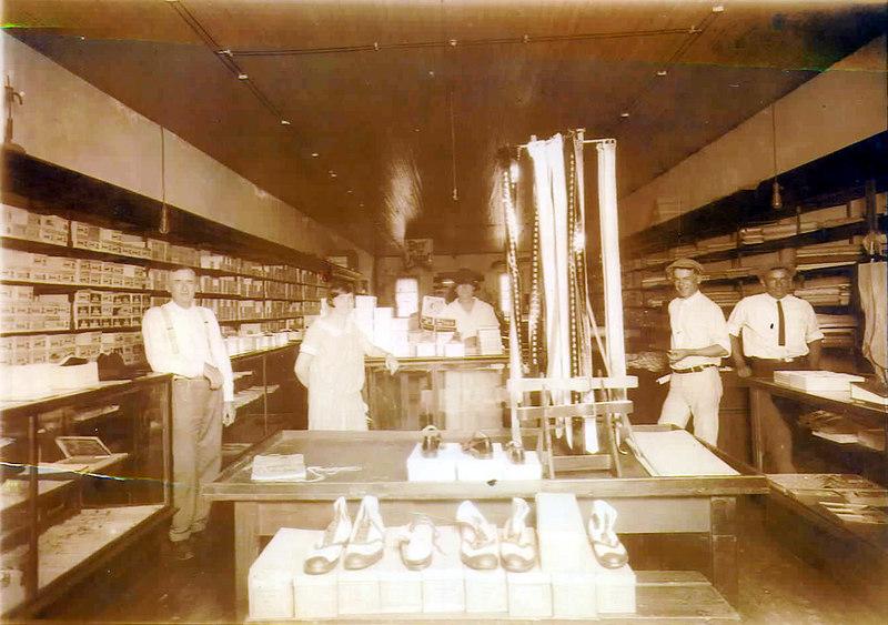 Possibly Miller Mercantile, Milltown. (Correction requested)<br /> Left to right: E. J. Carter, Vernie Miller, Geneva Carter, Tom Miller, ____________ Thigpen