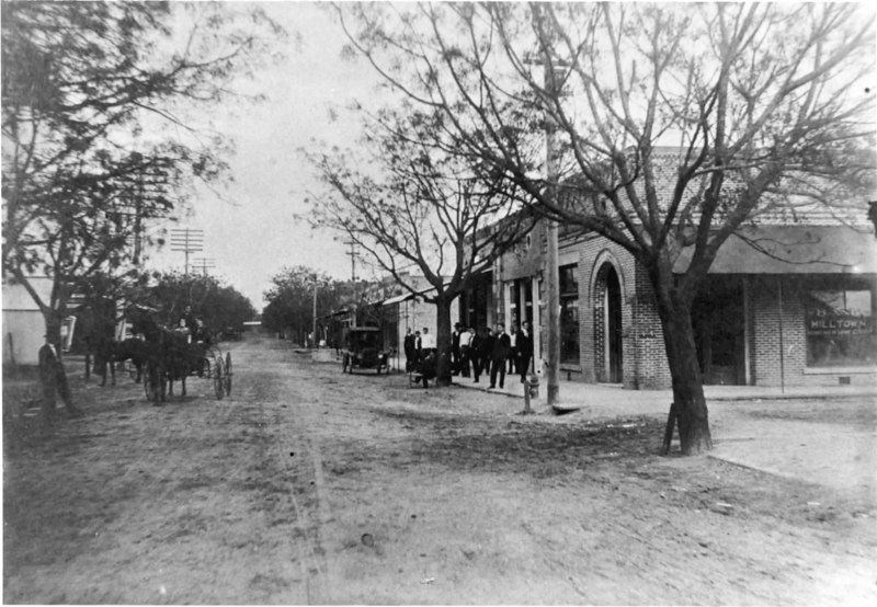 Milltown, Georgia, circa 1906.  Main street looking east from the corner of Mies Street (Valdosta Road). Note the chinaberry tree trunks were white washed periodically. <br /> (Photo courtesy of Adrian Darsey Westberry)