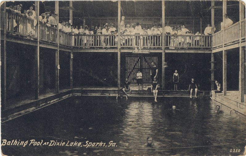 Bathing Pool at Dixie Lake Resort about 1915 just on the west side of Sparks. It was located just east of I-75 at the Sparks exit. Note the soda pop cutout advertisement behind the crowd at the center top of the photo. Sparks was still in Berrien County at the time. From a postcard courtesy of Ann and Russell Nix.