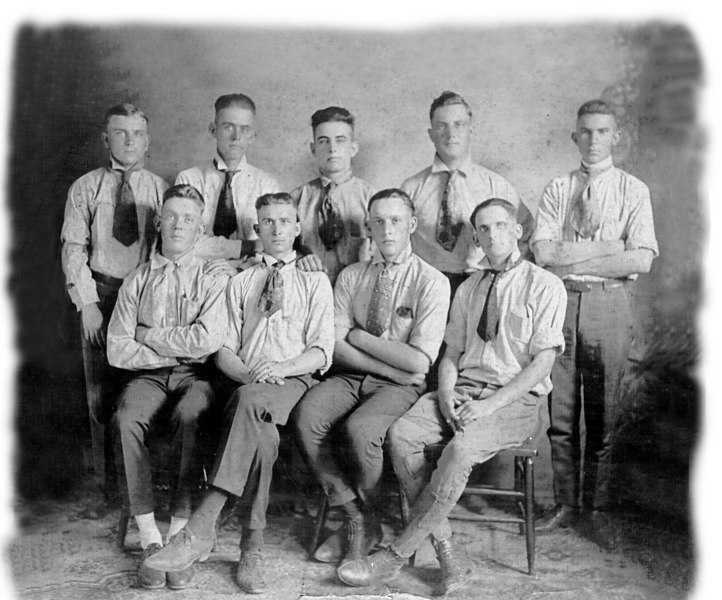Ray City Baseball team about 1920 Identified: Top row far left to right, Elmer Shaw, James Swindle, Henry Swindle, unidentified, unidentified. Bottom row left to right, unknown, Charlie Shaw, unknown, unknown. If you know identity of any of the unknowns, contact Historical Photo Committee link at bottom of home page.