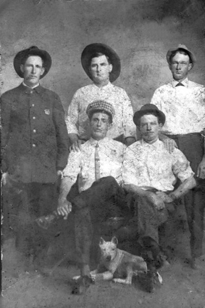 Ray City officials, top row left to right City Marshal Cauley Shaw, Bruner Shaw, unidentified. Front row unidentified and unidentified. Photo courtesy of Bryan Shaw