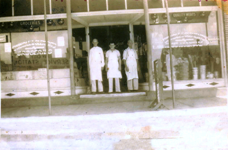 Swindle and Clements Grocery and Hardware, Ray City, Georgia, about1939.<br /> Left to right: Willie Woods, Artis Purvis, and Jake Purvis.