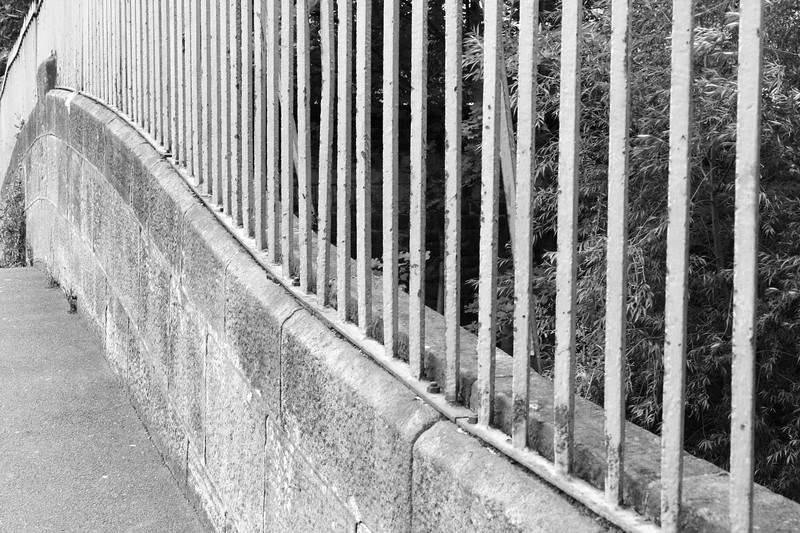 Curved railings on Low Mill Lane