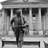 Harold Wilson statue outside Huddersfield railway station