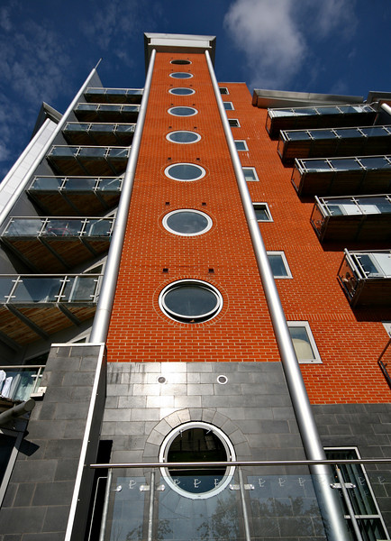 One of many striking new apartment buildings in Leeds