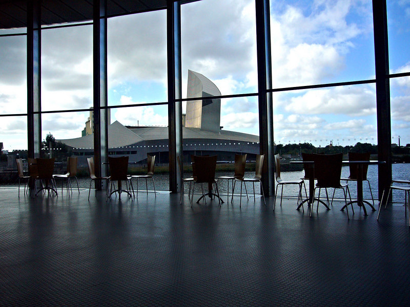Inside The Lowry, looking across the water to the Imperial War Museum.