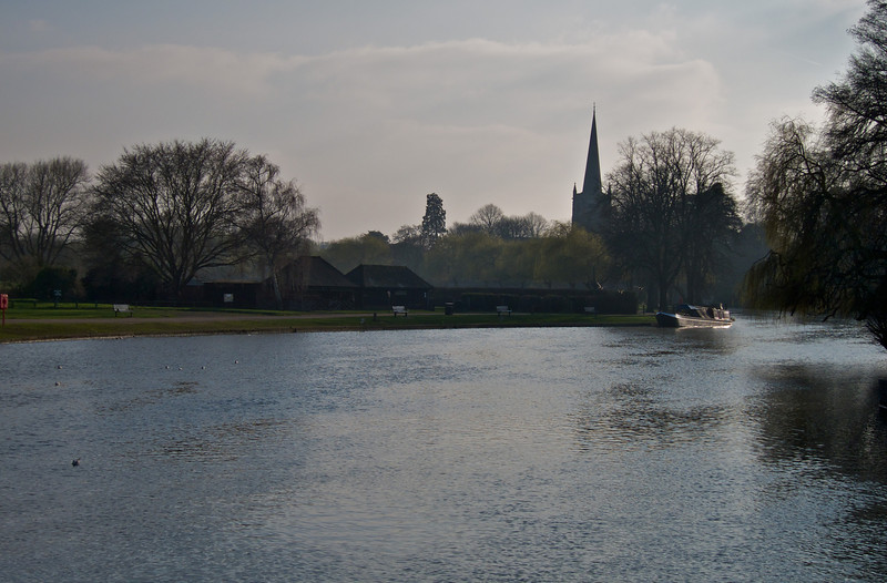Looking down the Avon. The church is here Shakespeare is buried.