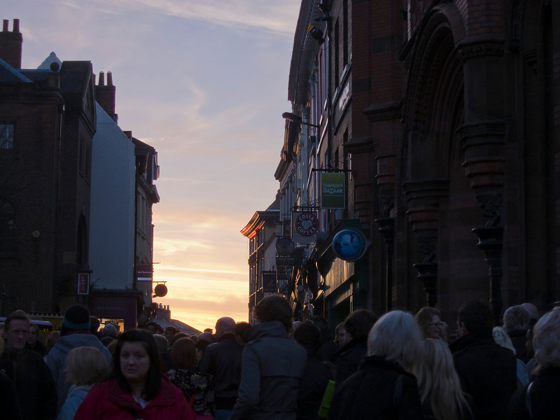 Christmas shoppers throng a York street