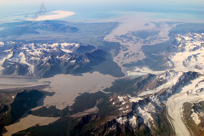 "Copper River flats viewing Miles glacier on the left and Childs glacier on the right where you can see the ""Million Dollar"" bridge"