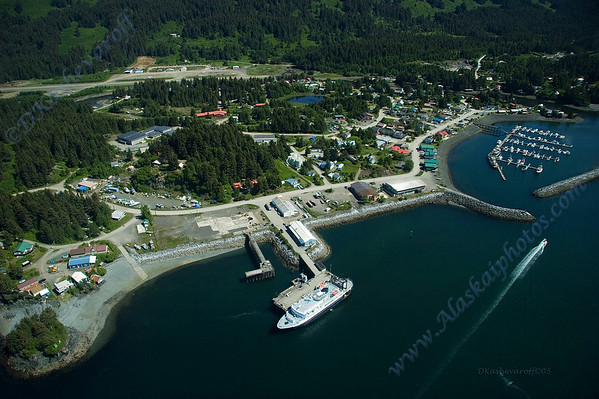 Seldovia with the State ferry docked.