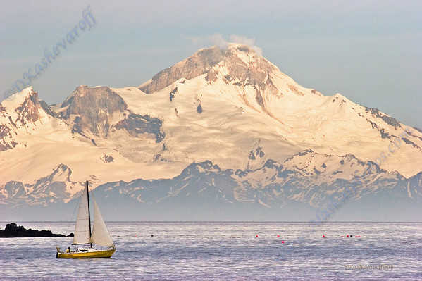 Seldovia sailboat in front of Mt. Iliamna