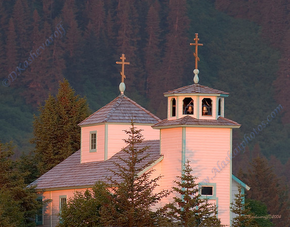 Russian Orthodox Church in Seldovia at Sunset    (built before 1900)