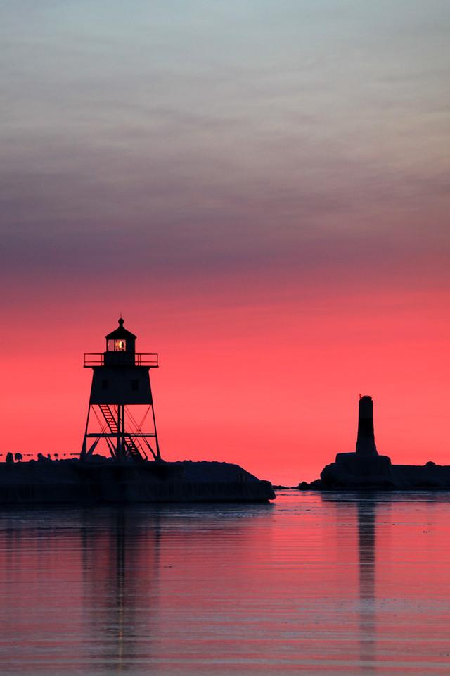 "GRAND MARAIS 5031<br /> <br /> ""Pink Sunset, Grand Marais Harbor"""