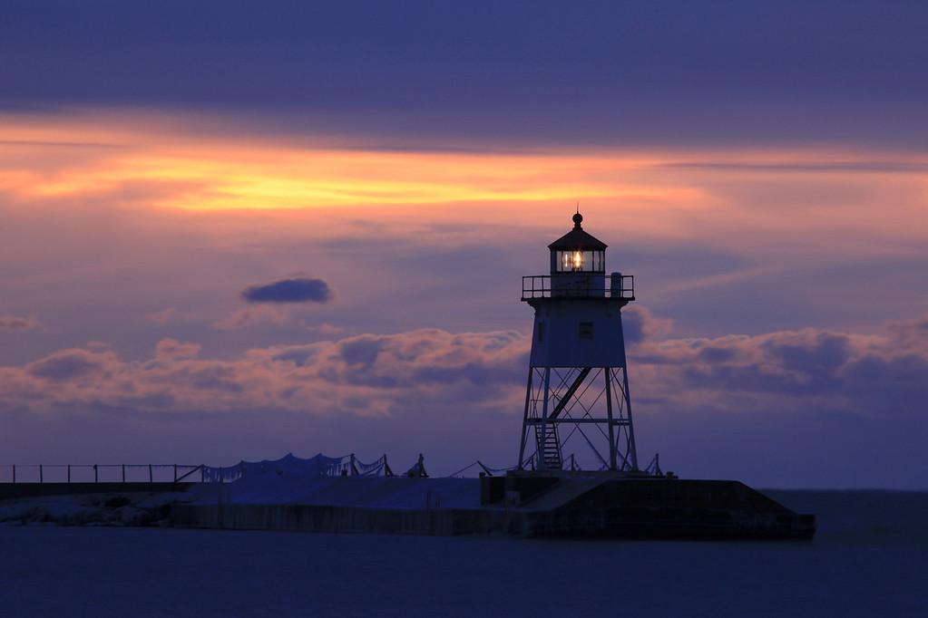 """GRAND MARAIS 6914<br /> <br /> """"December Dawn over the Grand Marais Lighthouse"""""""