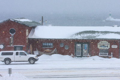 "GRAND MARAIS 3839  ""Snow storm in Grand Marais, Dockside Fish Market"""