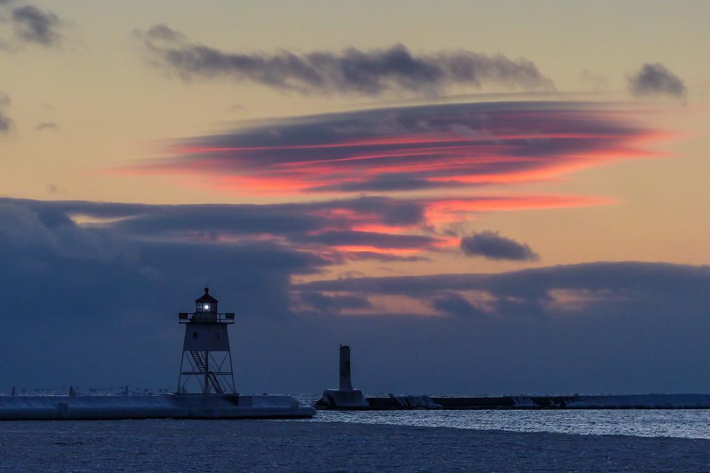 "GRAND MARAIS 1000733<br /> <br /> ""December 17th Sunset - Grand Marais Lighthouse""<br /> <br /> Grand Marais, MN"