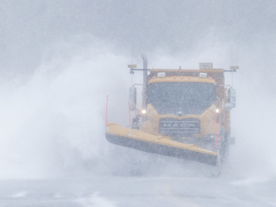 "TRANSPORTATION 1030799  ""Cook County Blizzard Buster""  Snow storm in Grand Portage, MN on April 1, 2014."