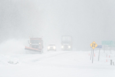 "TRANSPORTATION 03864  ""April Whiteout!""  A snow storm on Highway 61 in Grand Portage, MN on April 27, 2017."