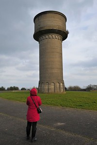 Michelle studies the old water tower in Hunts Park, Donaghadee. Friday, 23rd February 2018.