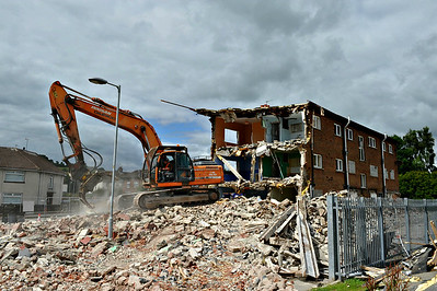 The flats in Rathmullan Drive, Scrabo Estate, during demolition on Friday, 4th August 2017.