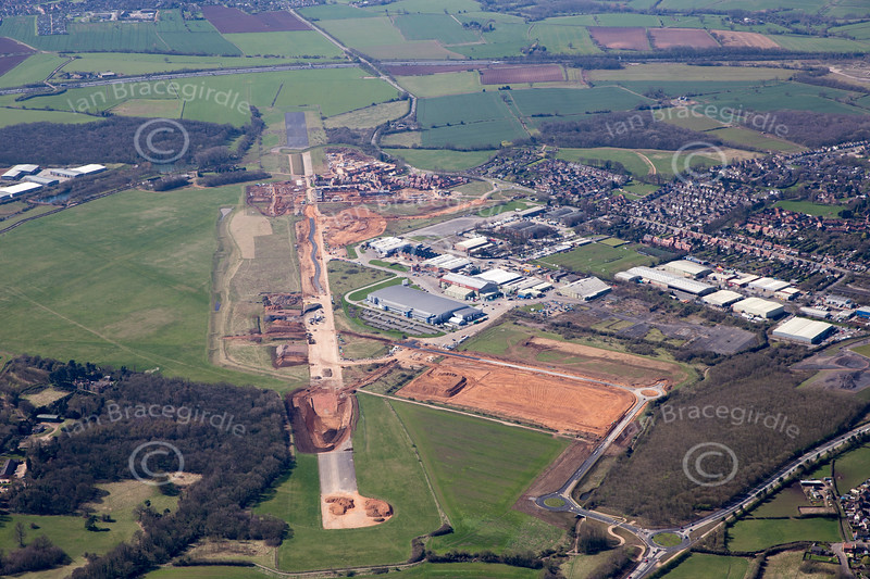 Aerial photo of Hucknall airfield.