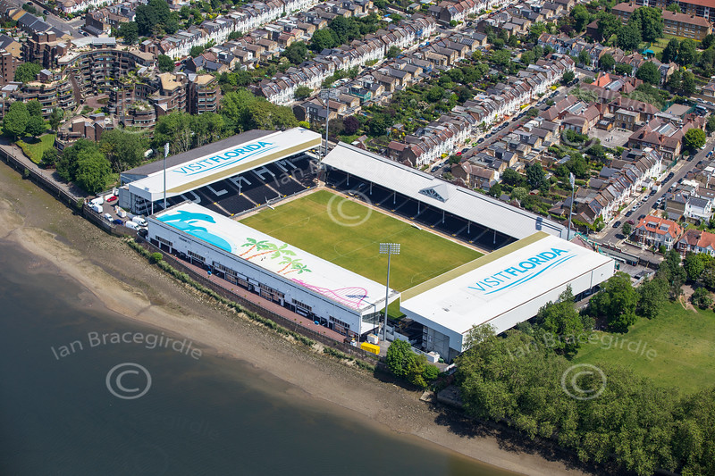 Aerial photo of Craven Cottage.