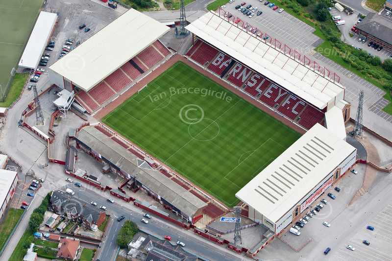 Aerial photo of Barnsley Football Club.