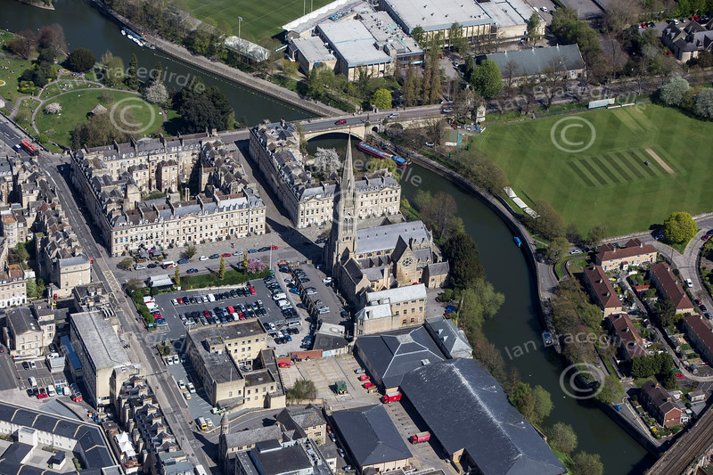St. John's Church and the River Avon in Bath from the air.