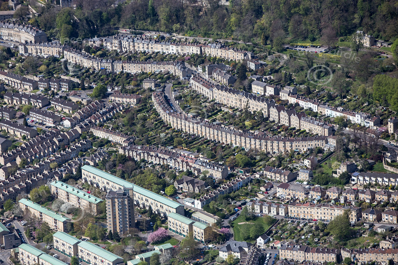 Belgrave Crescent, Bath from the air.
