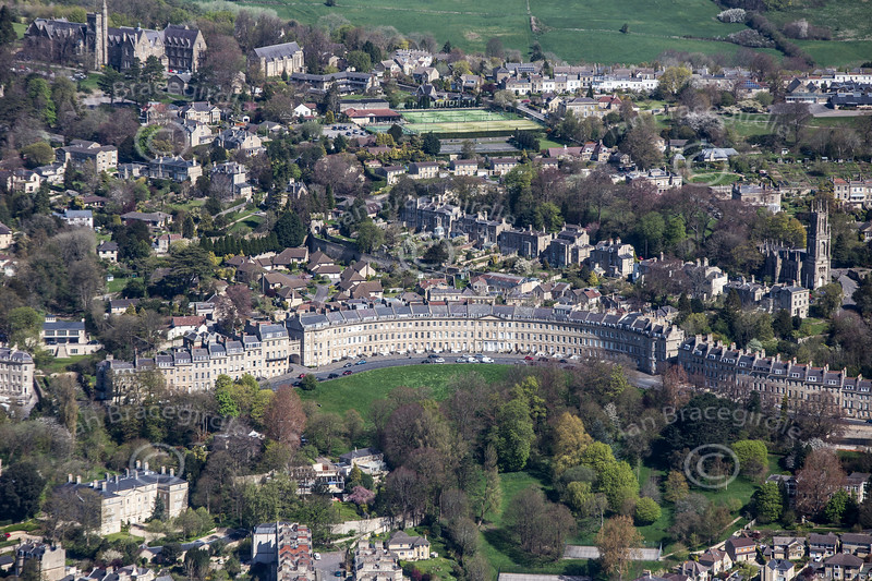 Landsdown Crescent in Bath from the air.