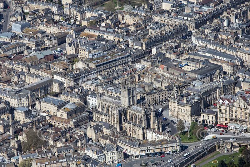 Bath Abbey from the air.