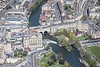 An aerial photo of the River Avon flowing through Bath in Somerset.
