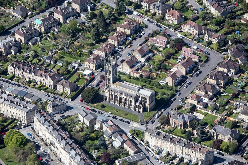 St. Saviours Church in Bath from the air.