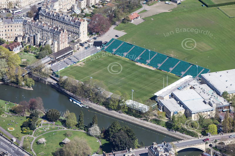 The Recreation Ground, Bath from the air.