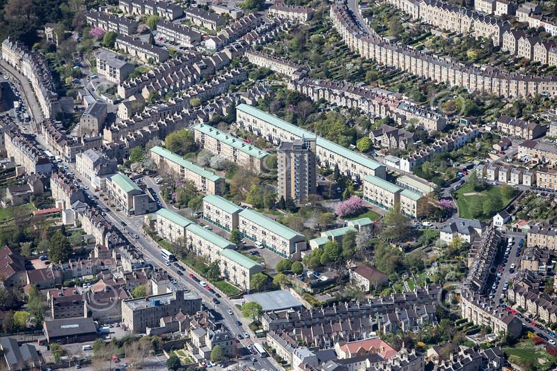 Saffron Court, Bath from the air.