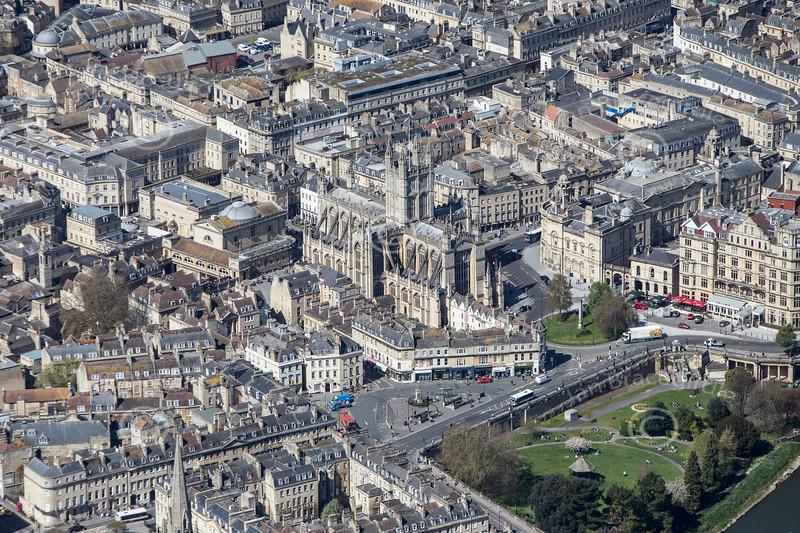 Aerial photo of Bath Abbey.