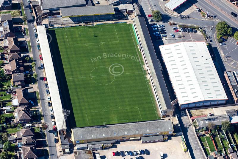Aerial photo of Boston United Football Club.
