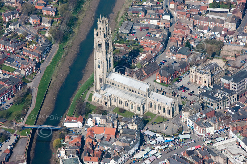 Aerial photo of  St Botolph's Church, Boston.