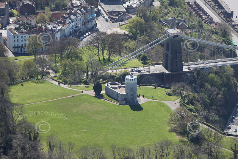 The Clifton Suspension Bridge from the air.