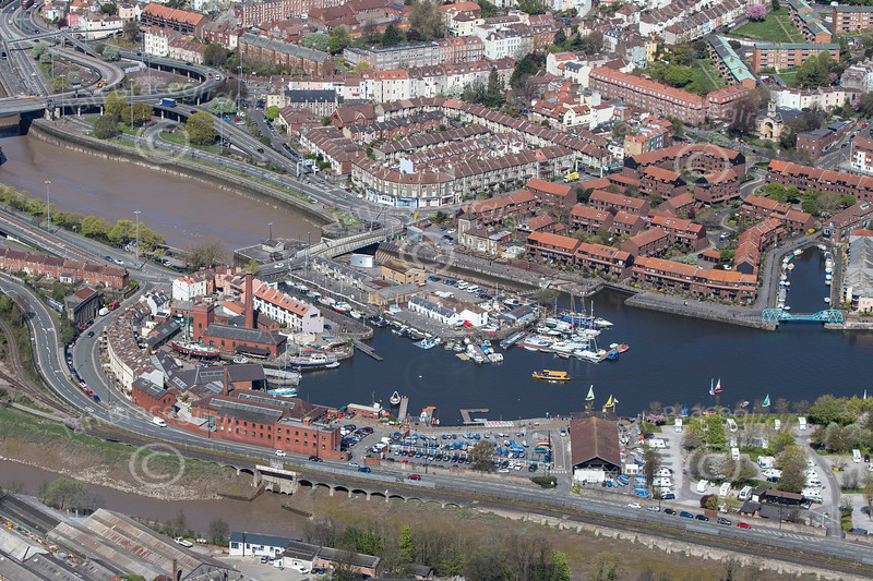 Bristol harbour from the air.