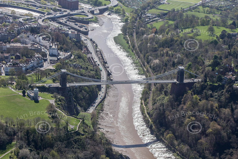 Aerial photo of The Clifton Suspension Bridge.