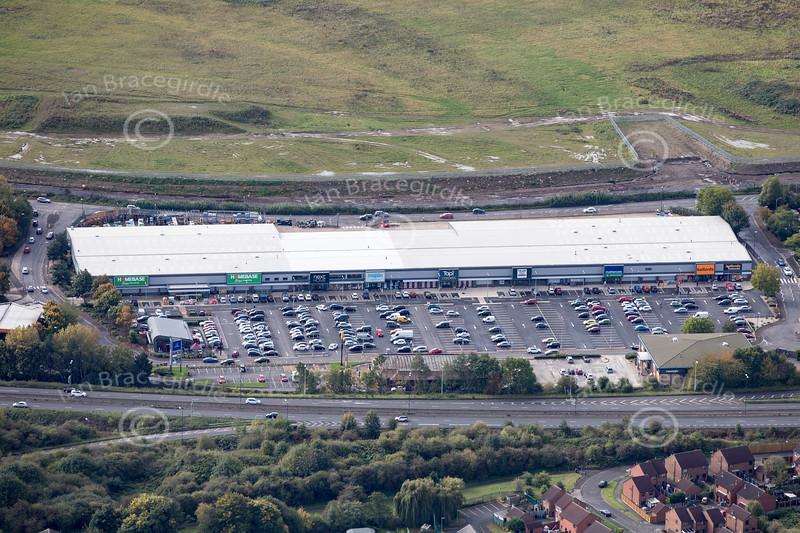 Aerial photo of Wyvern Retail Park.